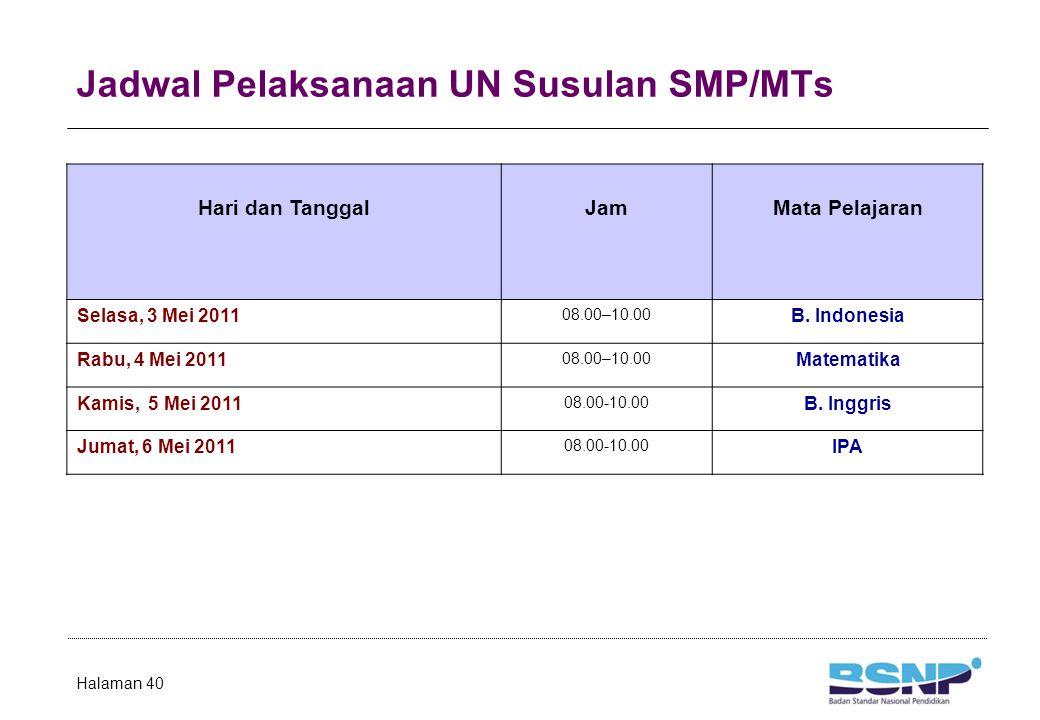 Jadwal Pelaksanaan UN Susulan SMP/MTs Halaman 40 Hari dan TanggalJamMata Pelajaran Selasa, 3 Mei 2011 08.00–10.00 B. Indonesia Rabu, 4 Mei 2011 08.00–