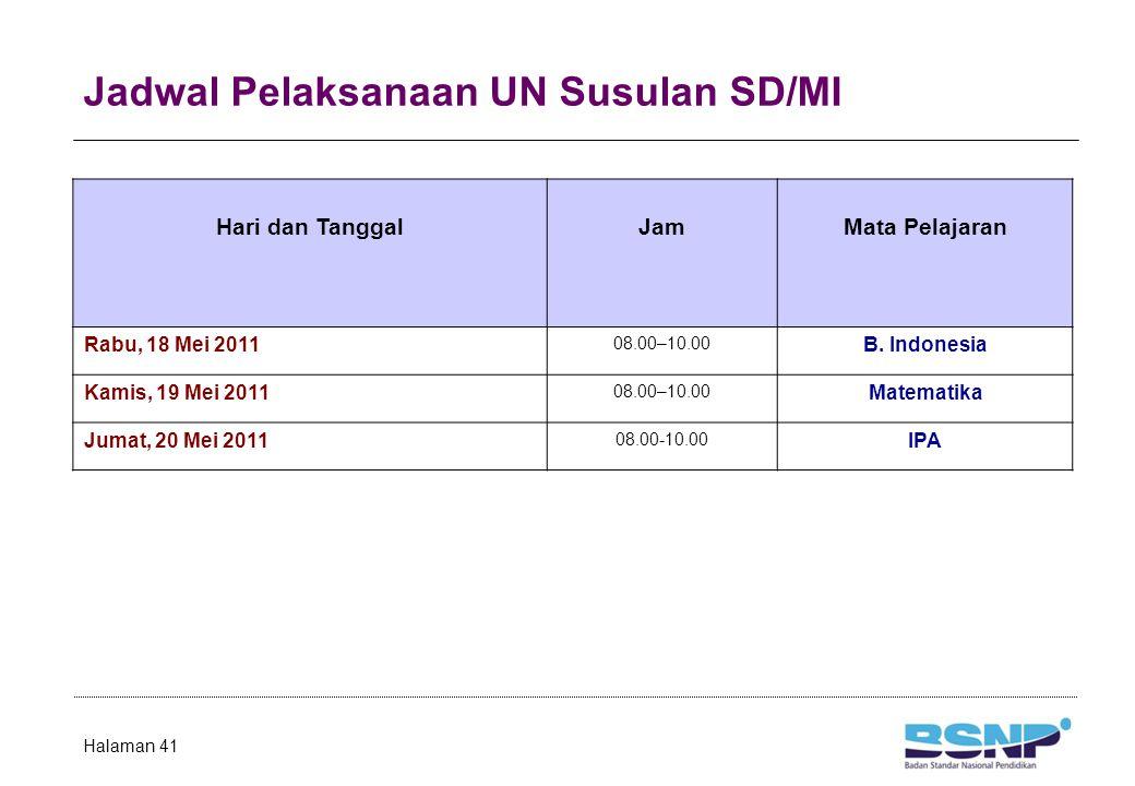 Jadwal Pelaksanaan UN Susulan SD/MI Halaman 41 Hari dan TanggalJamMata Pelajaran Rabu, 18 Mei 2011 08.00–10.00 B. Indonesia Kamis, 19 Mei 2011 08.00–1