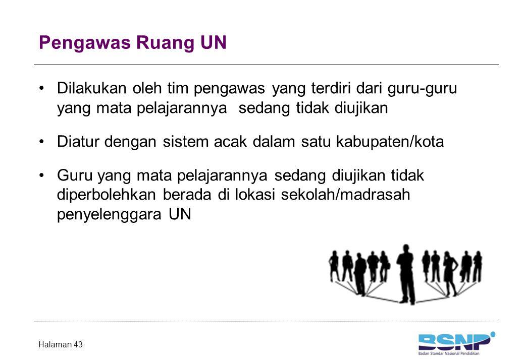 Pengawas Ruang UN Dilakukan oleh tim pengawas yang terdiri dari guru-guru yang mata pelajarannya sedang tidak diujikan Diatur dengan sistem acak dalam satu kabupaten/kota Guru yang mata pelajarannya sedang diujikan tidak diperbolehkan berada di lokasi sekolah/madrasah penyelenggara UN Halaman 43