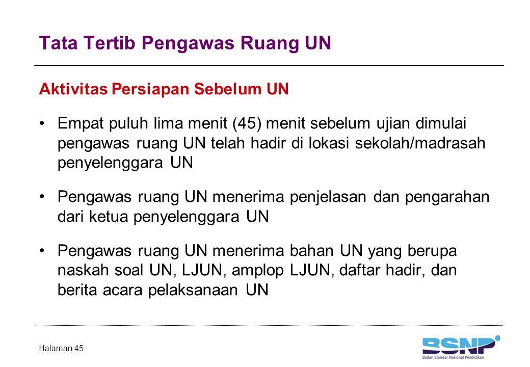 Tata Tertib Pengawas Ruang UN Aktivitas Persiapan Sebelum UN Empat puluh lima menit (45) menit sebelum ujian dimulai pengawas ruang UN telah hadir di lokasi sekolah/madrasah penyelenggara UN Pengawas ruang UN menerima penjelasan dan pengarahan dari ketua penyelenggara UN Pengawas ruang UN menerima bahan UN yang berupa naskah soal UN, LJUN, amplop LJUN, daftar hadir, dan berita acara pelaksanaan UN Halaman 45