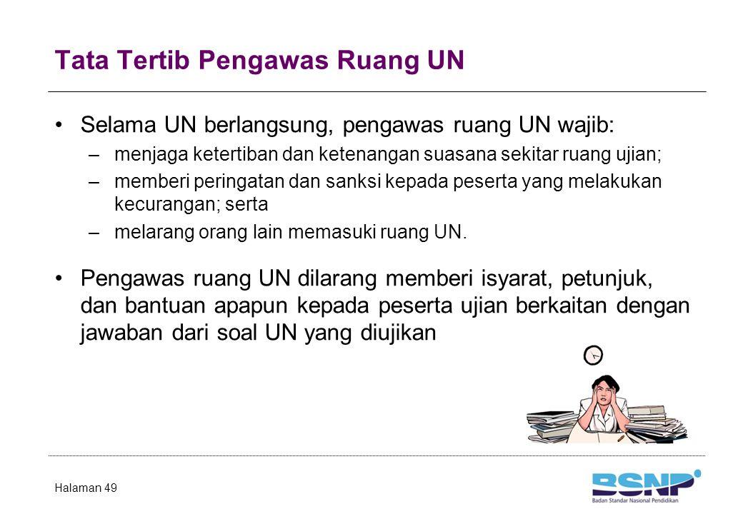 Tata Tertib Pengawas Ruang UN Selama UN berlangsung, pengawas ruang UN wajib: –menjaga ketertiban dan ketenangan suasana sekitar ruang ujian; –memberi peringatan dan sanksi kepada peserta yang melakukan kecurangan; serta –melarang orang lain memasuki ruang UN.