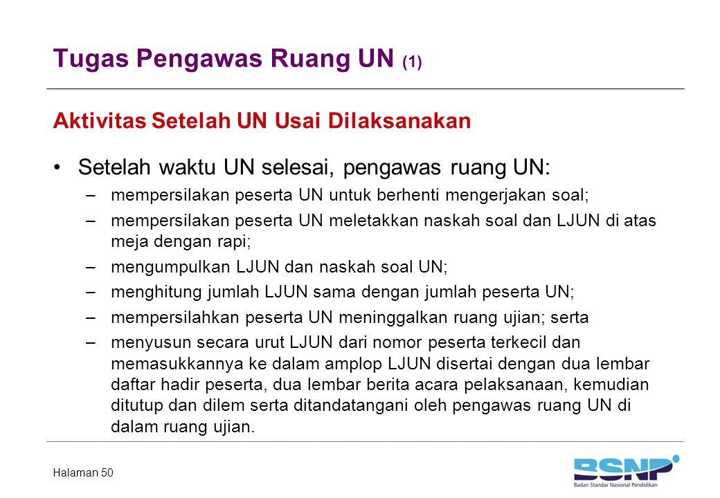 Tugas Pengawas Ruang UN (1) Aktivitas Setelah UN Usai Dilaksanakan Setelah waktu UN selesai, pengawas ruang UN: –mempersilakan peserta UN untuk berhenti mengerjakan soal; –mempersilakan peserta UN meletakkan naskah soal dan LJUN di atas meja dengan rapi; –mengumpulkan LJUN dan naskah soal UN; –menghitung jumlah LJUN sama dengan jumlah peserta UN; –mempersilahkan peserta UN meninggalkan ruang ujian; serta –menyusun secara urut LJUN dari nomor peserta terkecil dan memasukkannya ke dalam amplop LJUN disertai dengan dua lembar daftar hadir peserta, dua lembar berita acara pelaksanaan, kemudian ditutup dan dilem serta ditandatangani oleh pengawas ruang UN di dalam ruang ujian.
