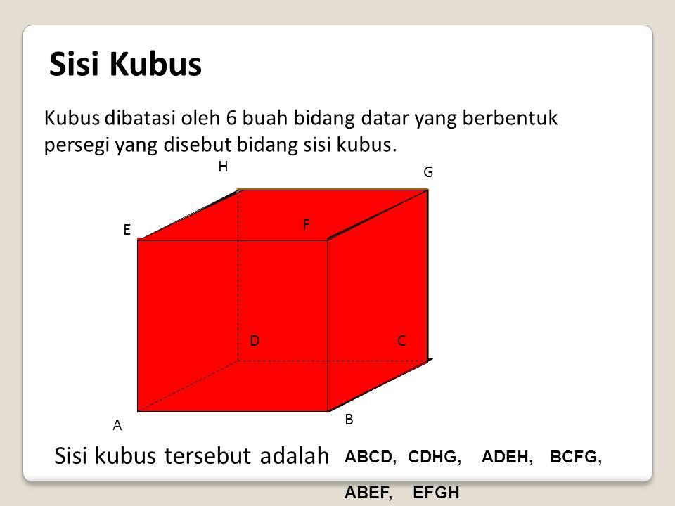 Kubus adalah sebuah benda ruang yang dibatasi oleh 6 bidang datar yang masing-masing berbentuk persegi yang sama dan sebangun atau kongruen. Definisi