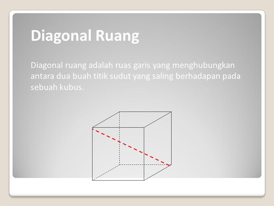  EG dan FH pada sisi EFGH A B C D E F G H Diagonal-diagonal sisi pada kubus antara lain:  AF dan BE pada sisi ABFE  CH dan DG pada sisi CGHD  BG d
