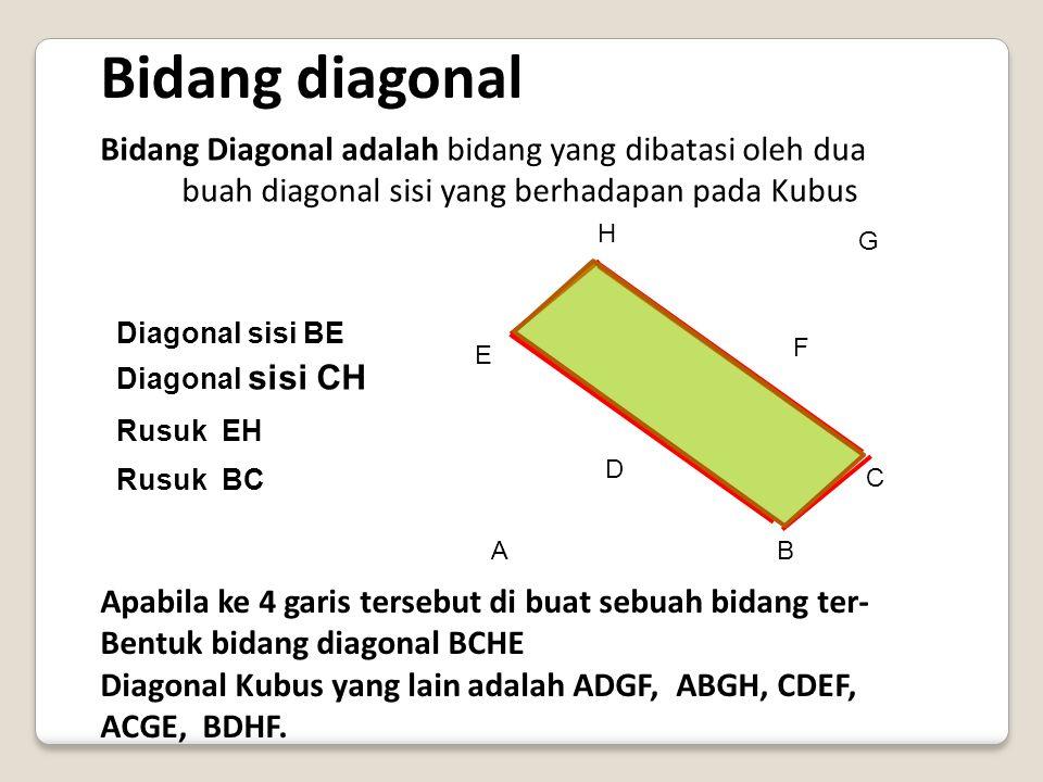 Diagonal-Diagonal Ruang Pada Kubus Antara Lain: A B C D E F G H AG, BH,CE,DF Jika panjang rusuk sebuah kubus sama dengan maka panjang diagonal ruang k