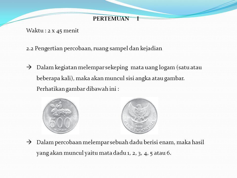 HHimpunan dari semua hasil yang muncul dalam percobaan seperti pada mata uang logam {A,G} dan pada dadu {1, 2,3,4,5,6} disebut ruang sampel dan dilambangkan S.