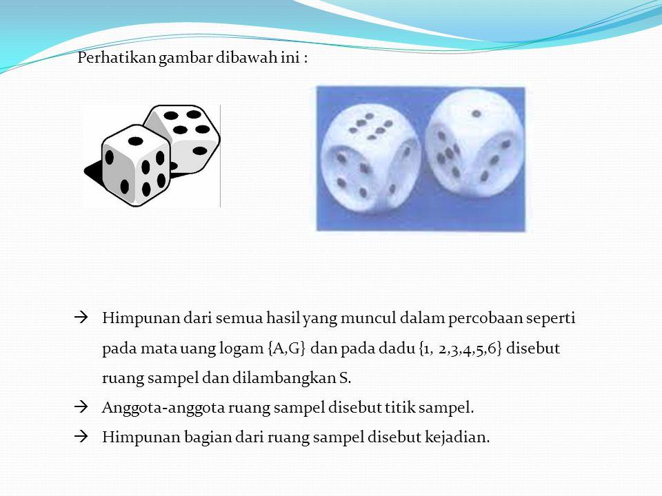 HHimpunan dari semua hasil yang muncul dalam percobaan seperti pada mata uang logam {A,G} dan pada dadu {1, 2,3,4,5,6} disebut ruang sampel dan dila