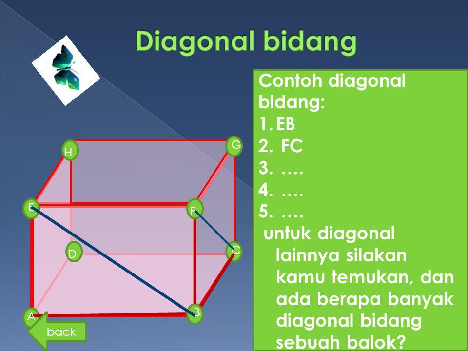 G D H E A B F C Contoh diagonal bidang: 1.EB 2. FC 3. …. 4. …. 5. …. untuk diagonal lainnya silakan kamu temukan, dan ada berapa banyak diagonal bidan