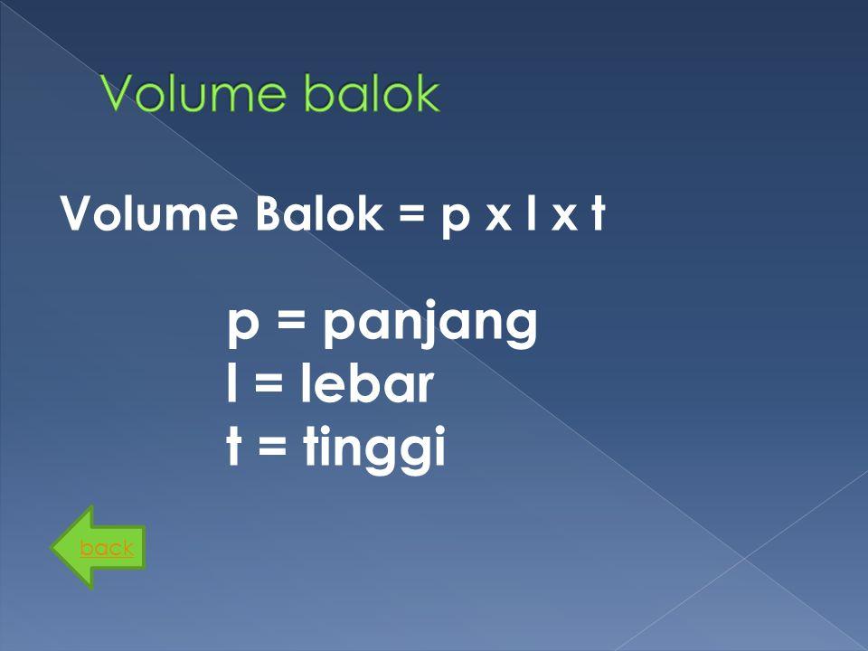 Volume Balok = p x l x t back p = panjang l = lebar t = tinggi