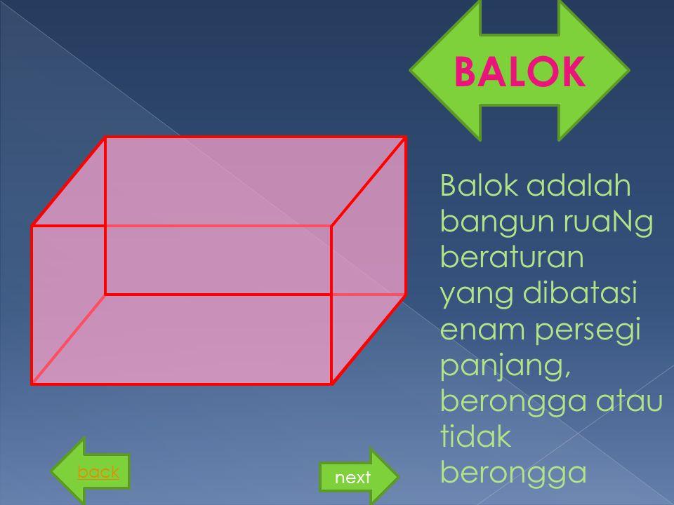 Balok adalah bangun ruaNg beraturan yang dibatasi enam persegi panjang, berongga atau tidak berongga BALOK back next