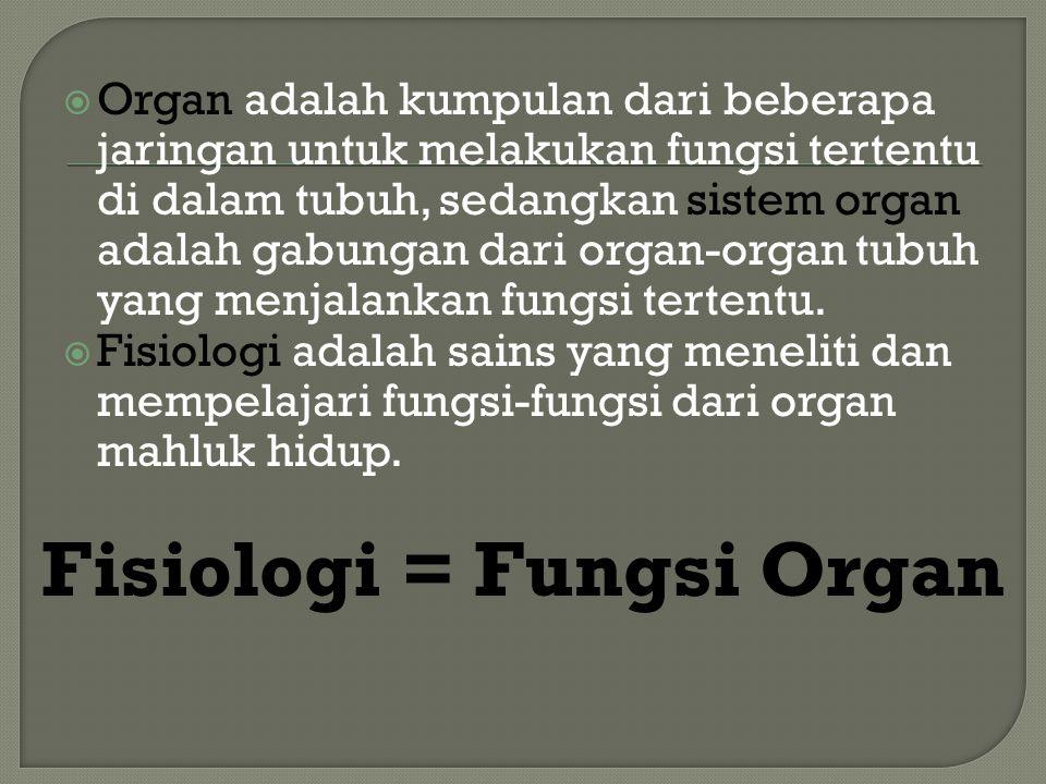  Organ adalah kumpulan dari beberapa jaringan untuk melakukan fungsi tertentu di dalam tubuh, sedangkan sistem organ adalah gabungan dari organ-organ