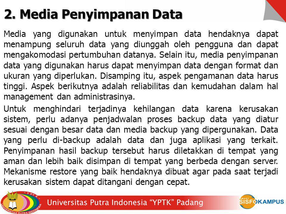 2. Media Penyimpanan Data Media yang digunakan untuk menyimpan data hendaknya dapat menampung seluruh data yang diunggah oleh pengguna dan dapat menga