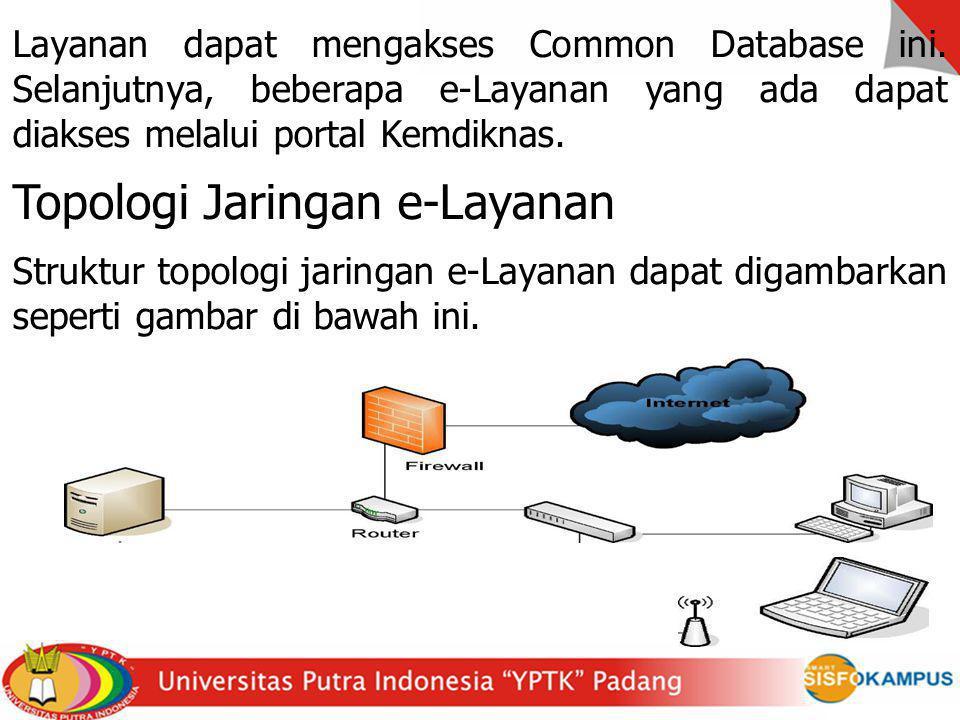 Layanan dapat mengakses Common Database ini. Selanjutnya, beberapa e-Layanan yang ada dapat diakses melalui portal Kemdiknas. Topologi Jaringan e-Laya
