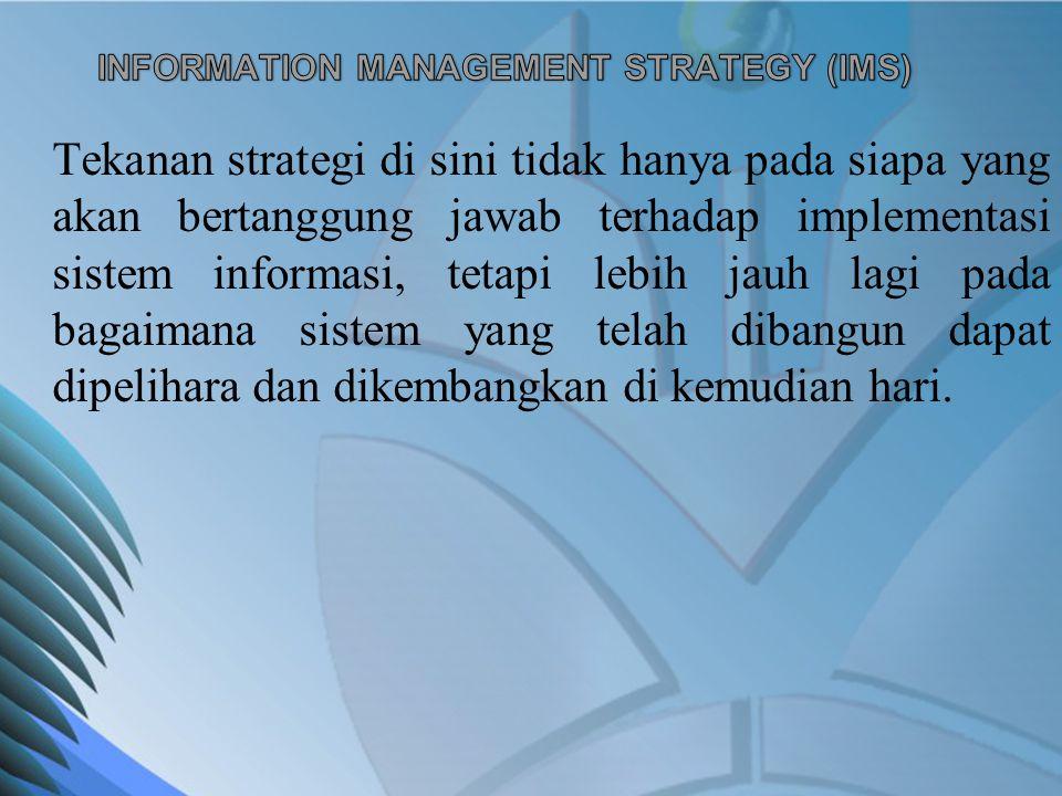 Tekanan strategi di sini tidak hanya pada siapa yang akan bertanggung jawab terhadap implementasi sistem informasi, tetapi lebih jauh lagi pada bagaim