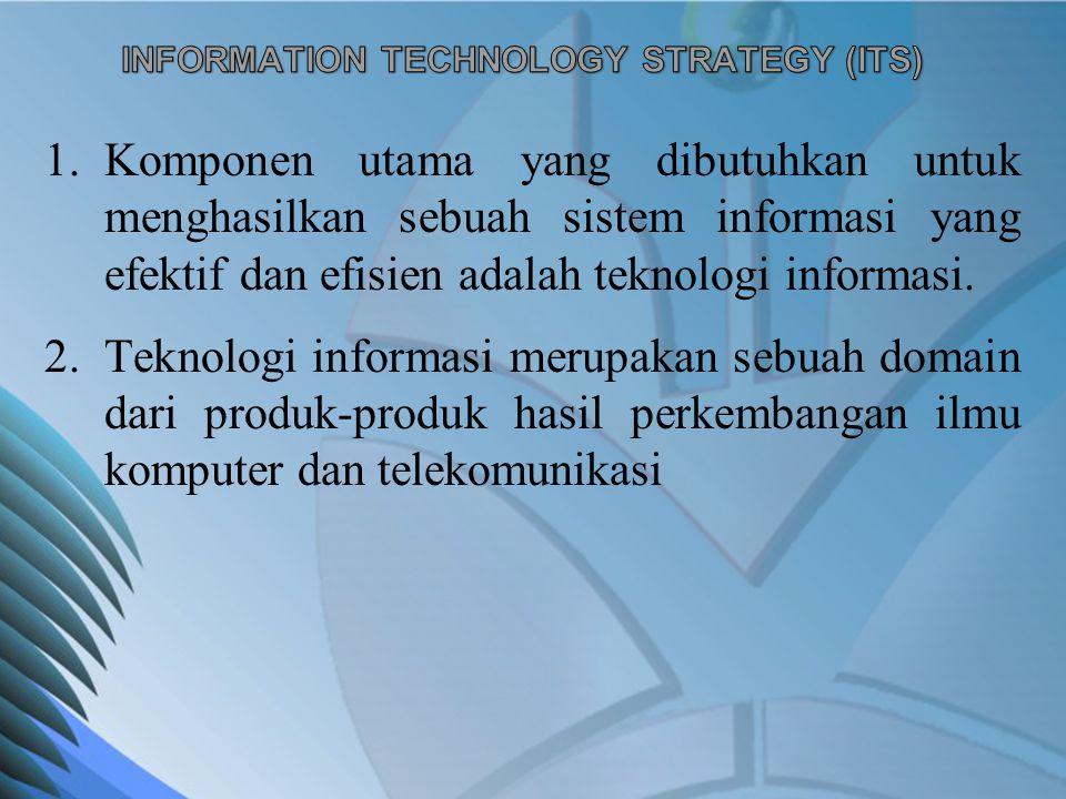 1.Komponen utama yang dibutuhkan untuk menghasilkan sebuah sistem informasi yang efektif dan efisien adalah teknologi informasi. 2.Teknologi informasi