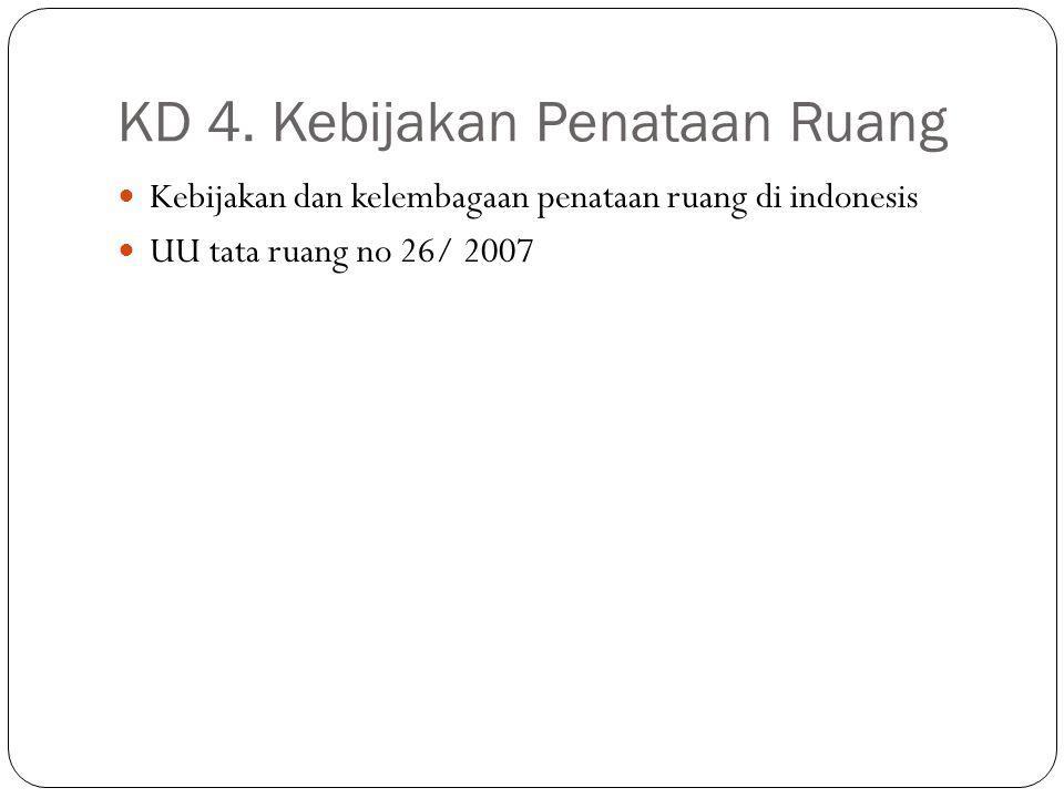 KD 4. Kebijakan Penataan Ruang Kebijakan dan kelembagaan penataan ruang di indonesis UU tata ruang no 26/ 2007