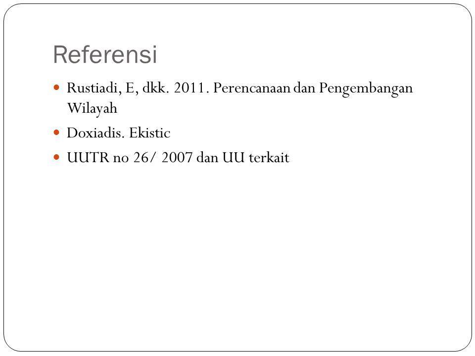 Referensi Rustiadi, E, dkk. 2011. Perencanaan dan Pengembangan Wilayah Doxiadis. Ekistic UUTR no 26/ 2007 dan UU terkait