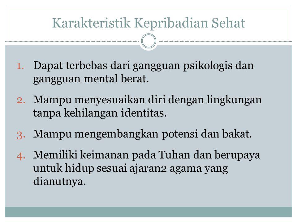 1.Dapat terbebas dari gangguan psikologis dan gangguan mental berat.