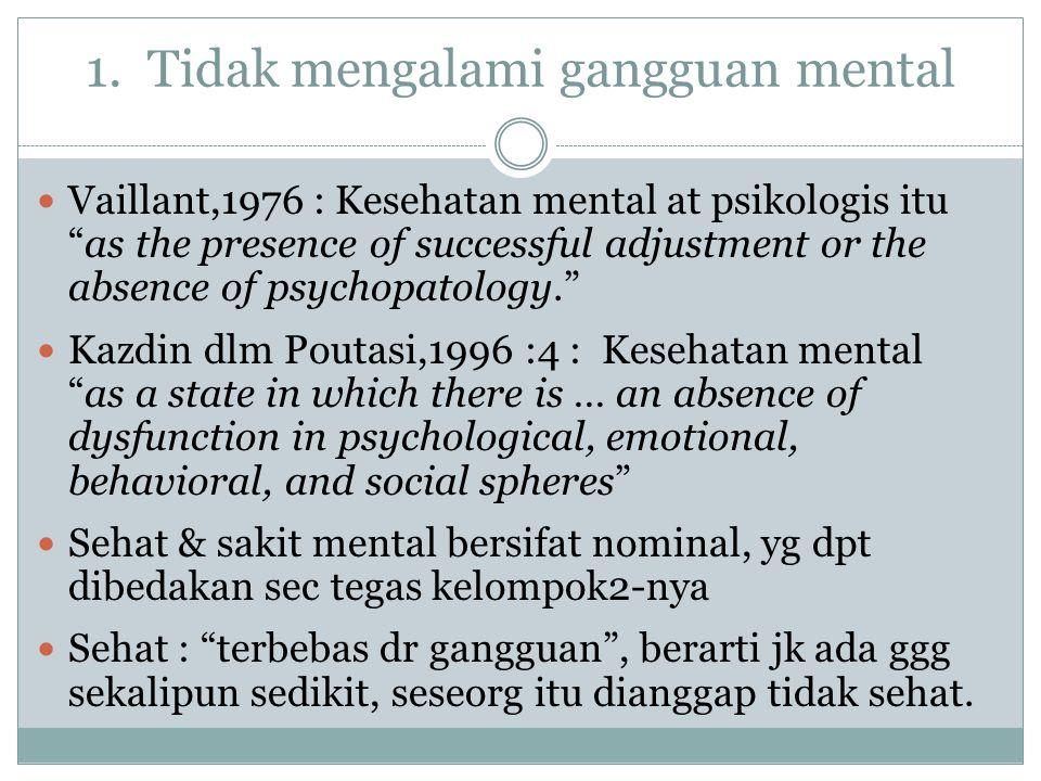 """1. Tidak mengalami gangguan mental Vaillant,1976 : Kesehatan mental at psikologis itu """"as the presence of successful adjustment or the absence of psyc"""