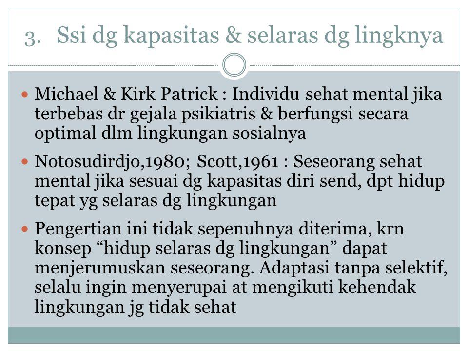 3. Ssi dg kapasitas & selaras dg lingknya Michael & Kirk Patrick : Individu sehat mental jika terbebas dr gejala psikiatris & berfungsi secara optimal