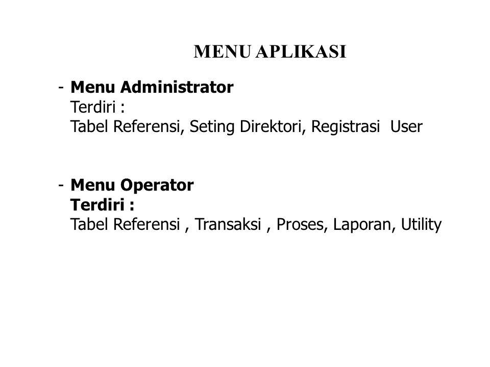 -Menu Administrator Terdiri : Tabel Referensi, Seting Direktori, Registrasi User -Menu Operator Terdiri : Tabel Referensi, Transaksi, Proses, Laporan, Utility MENU APLIKASI