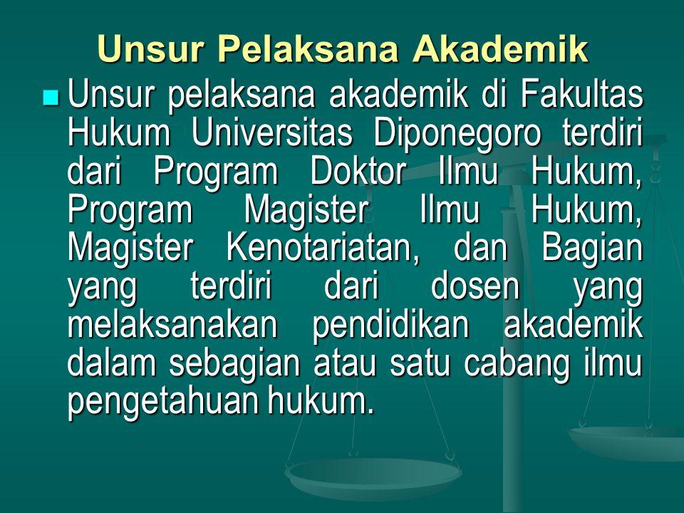 Unsur Pelaksana Akademik Unsur pelaksana akademik di Fakultas Hukum Universitas Diponegoro terdiri dari Program Doktor Ilmu Hukum, Program Magister Ilmu Hukum, Magister Kenotariatan, dan Bagian yang terdiri dari dosen yang melaksanakan pendidikan akademik dalam sebagian atau satu cabang ilmu pengetahuan hukum.