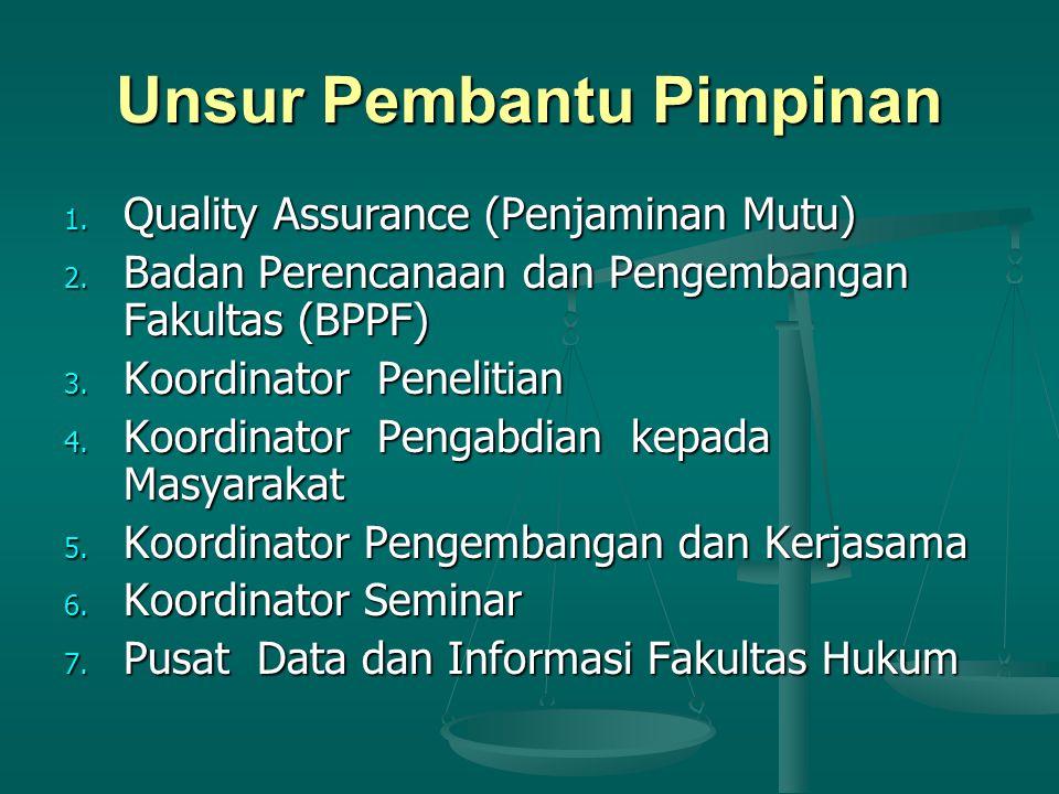 Unsur Pembantu Pimpinan 1.Quality Assurance (Penjaminan Mutu) 2.