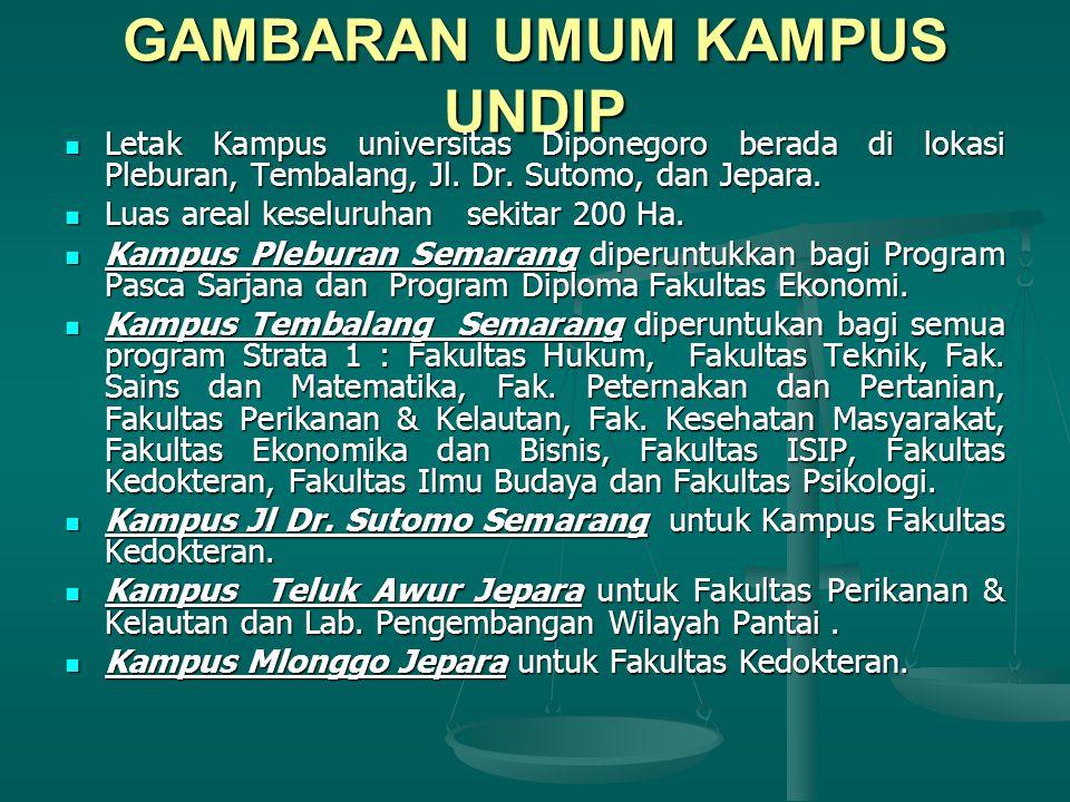 GAMBARAN UMUM KAMPUS UNDIP Letak Kampus universitas Diponegoro berada di lokasi Pleburan, Tembalang, Jl.