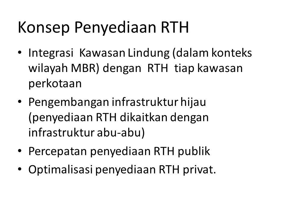 Konsep Penyediaan RTH Integrasi Kawasan Lindung (dalam konteks wilayah MBR) dengan RTH tiap kawasan perkotaan Pengembangan infrastruktur hijau (penyediaan RTH dikaitkan dengan infrastruktur abu-abu) Percepatan penyediaan RTH publik Optimalisasi penyediaan RTH privat.