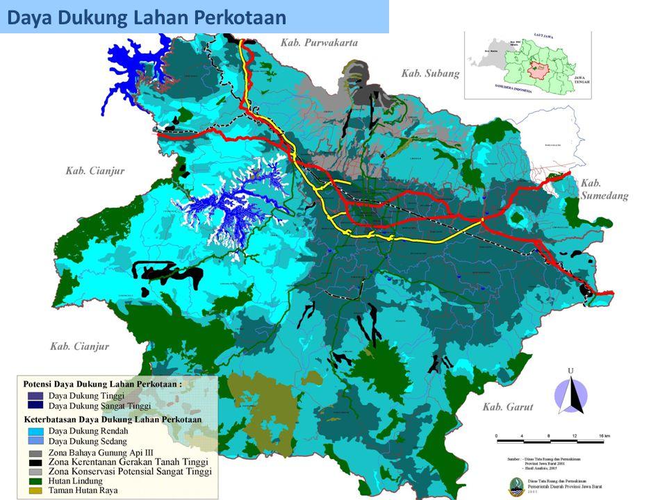 Analisis kemampuan lahan Ketersediaan lahan untuk pengembangan kawasan perkotaan Kebutuhan lahan untuk pengembangan kawasan perkotaan Status Daya dukung lahan Pertumbuhan penduduk perkotaan 1.Kebutuhan lahan per-kapita 2.Kebutuhan lahan untuk perumahan dan PSU 3.Kebutuhan lahan untuk kegiatan perkotaan Analisis Daya Dukung Lahan untuk pengembangan kawasan perkotaan
