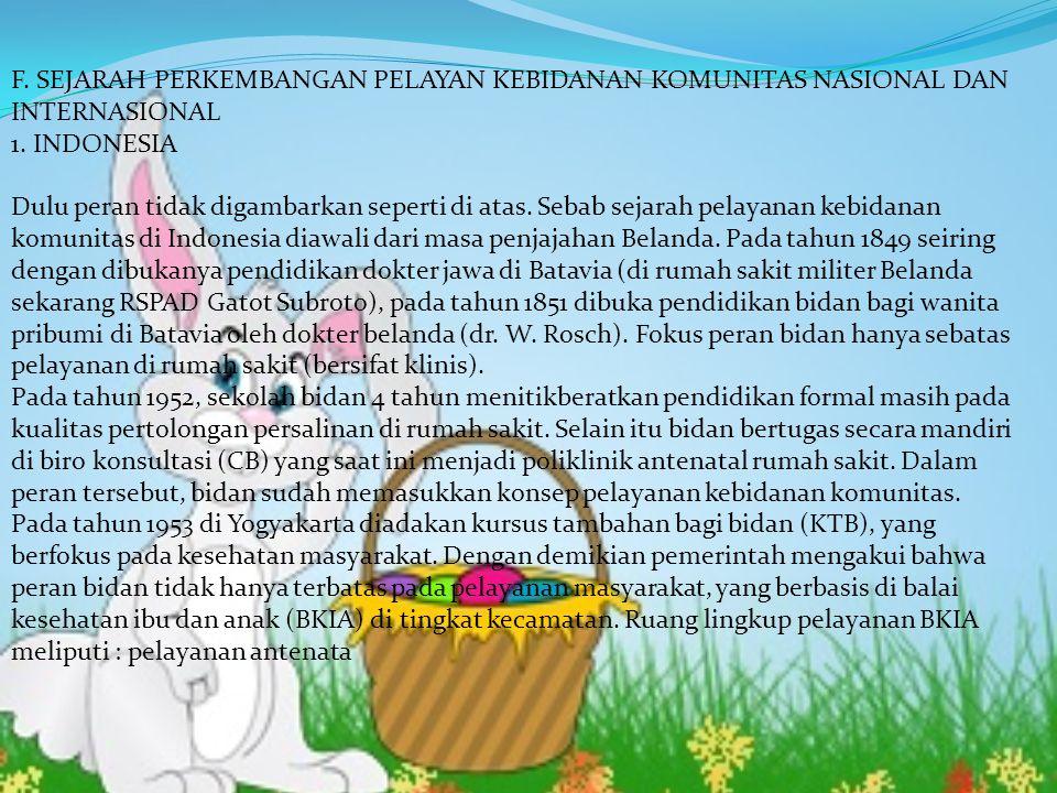 F. SEJARAH PERKEMBANGAN PELAYAN KEBIDANAN KOMUNITAS NASIONAL DAN INTERNASIONAL 1. INDONESIA Dulu peran tidak digambarkan seperti di atas. Sebab sejara
