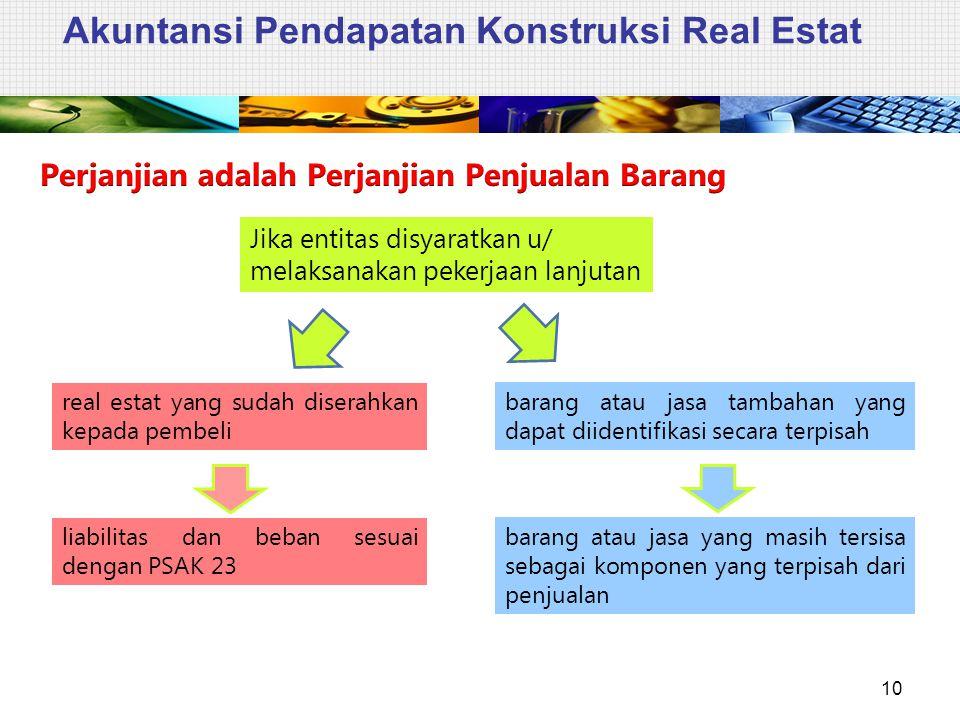 Akuntansi Pendapatan Konstruksi Real Estat 10 Jika entitas disyaratkan u/ melaksanakan pekerjaan lanjutan real estat yang sudah diserahkan kepada pemb