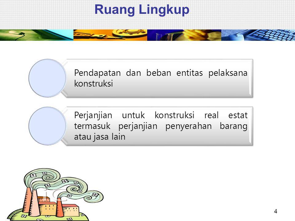 Ruang Lingkup 4 Pendapatan dan beban entitas pelaksana konstruksi Perjanjian untuk konstruksi real estat termasuk perjanjian penyerahan barang atau ja