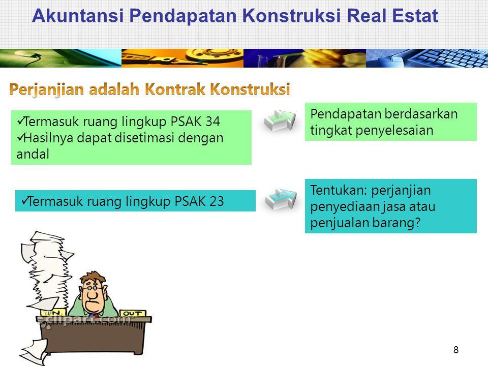 Akuntansi Pendapatan Konstruksi Real Estat 8 Termasuk ruang lingkup PSAK 34 Hasilnya dapat disetimasi dengan andal Pendapatan berdasarkan tingkat peny