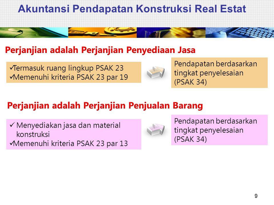 Akuntansi Pendapatan Konstruksi Real Estat 9 Termasuk ruang lingkup PSAK 23 Memenuhi kriteria PSAK 23 par 19 Pendapatan berdasarkan tingkat penyelesai