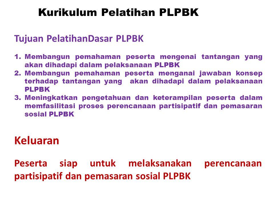 Tujuan PelatihanDasar PLPBK 1.Membangun pemahaman peserta mengenai tantangan yang akan dihadapi dalam pelaksanaan PLPBK 2.Membangun pemahaman peserta
