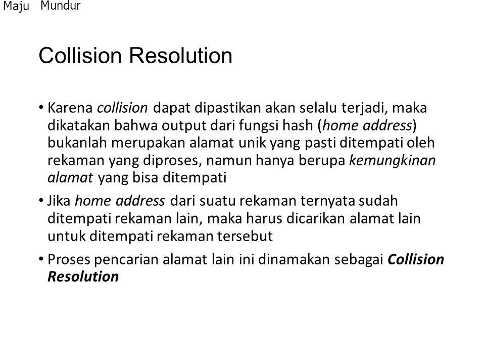 Collision Resolution Karena collision dapat dipastikan akan selalu terjadi, maka dikatakan bahwa output dari fungsi hash (home address) bukanlah merup