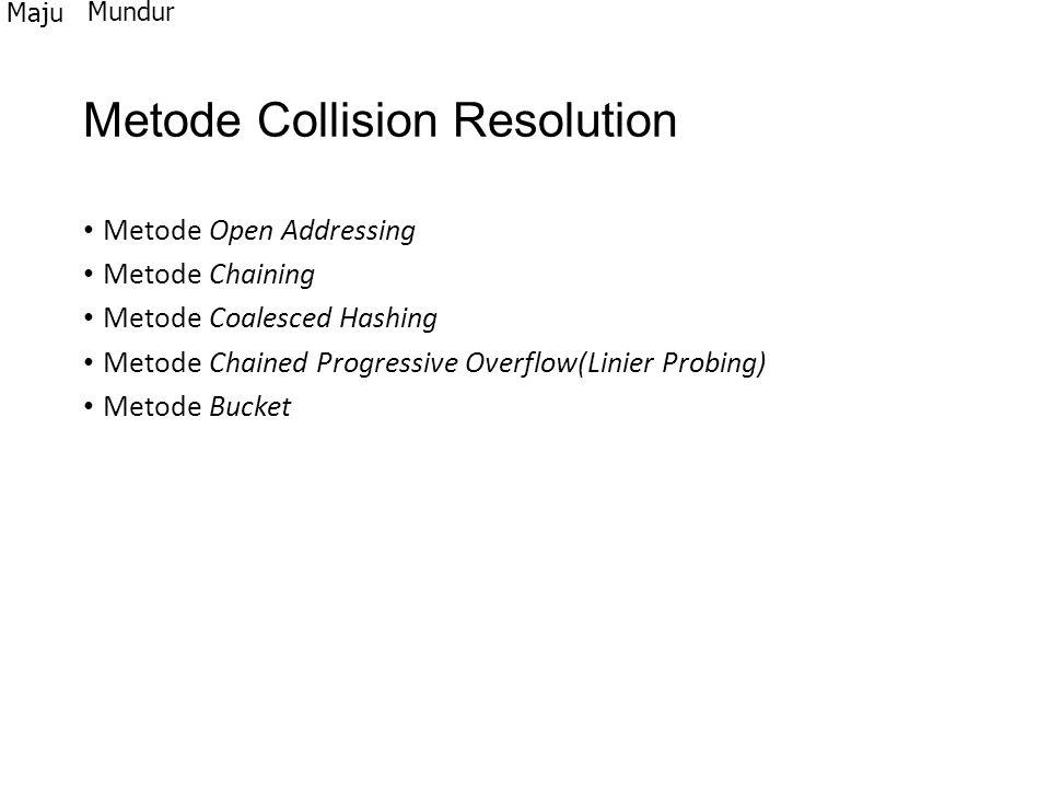 Metode Collision Resolution Metode Open Addressing Metode Chaining Metode Coalesced Hashing Metode Chained Progressive Overflow(Linier Probing) Metode
