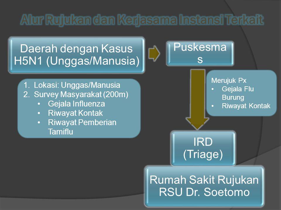Daerah dengan Kasus H5N1 (Unggas/Manusia) 1.Lokasi: Unggas/Manusia 2.Survey Masyarakat (200m) Gejala Influenza Riwayat Kontak Riwayat Pemberian Tamiflu Puskesma s Merujuk Px Gejala Flu Burung Riwayat Kontak Rumah Sakit Rujukan RSU Dr.