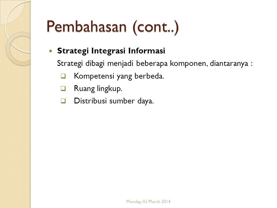 Pembahasan (cont..) Strategi Integrasi Informasi Strategi dibagi menjadi beberapa komponen, diantaranya :  Kompetensi yang berbeda.  Ruang lingkup.