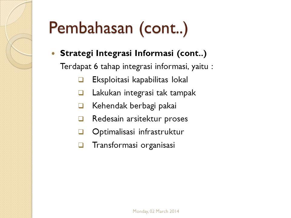 Pembahasan (cont..) Strategi Integrasi Informasi (cont..) Terdapat 6 tahap integrasi informasi, yaitu :  Eksploitasi kapabilitas lokal  Lakukan inte