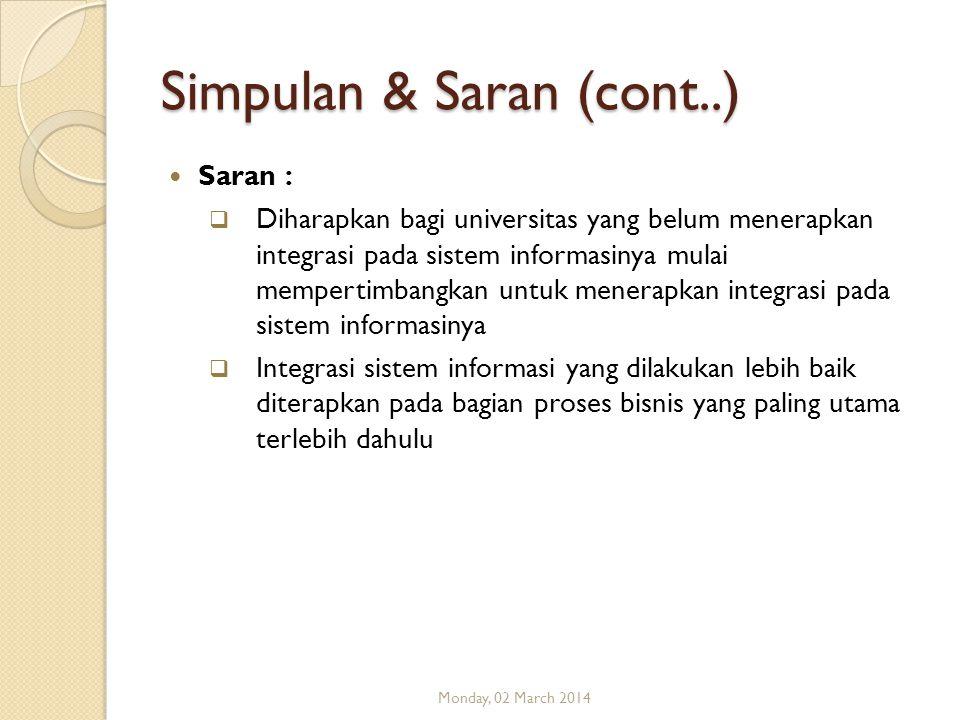 Simpulan & Saran (cont..) Saran :  Diharapkan bagi universitas yang belum menerapkan integrasi pada sistem informasinya mulai mempertimbangkan untuk
