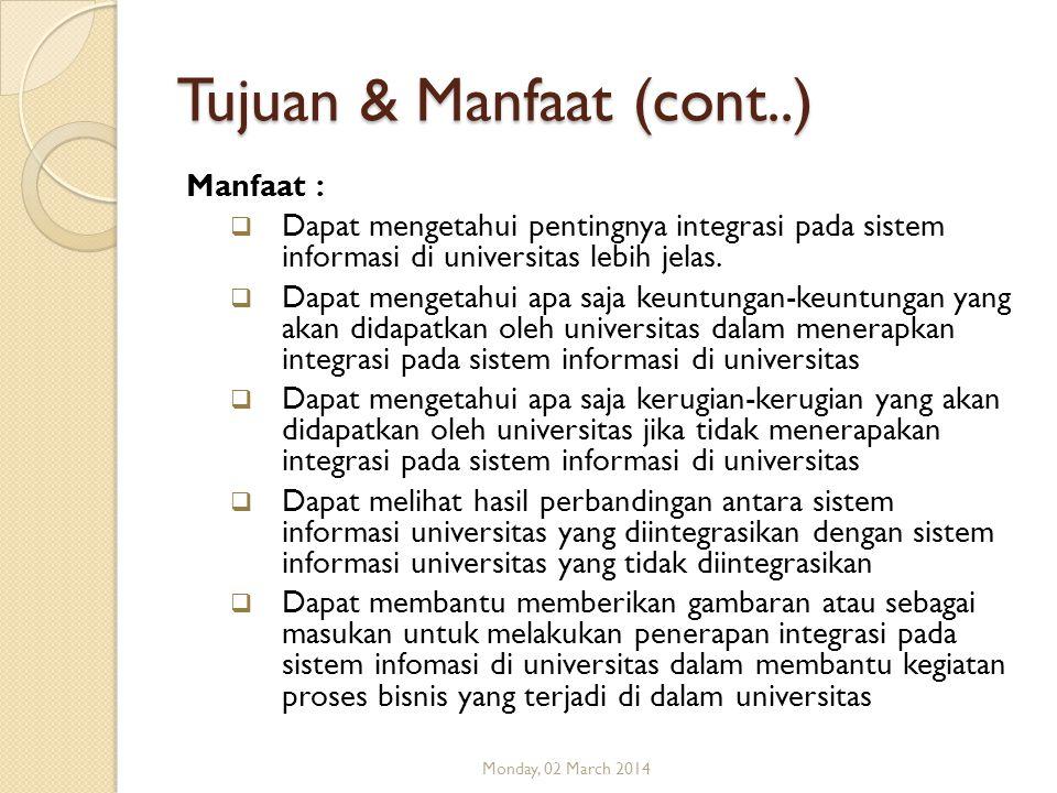 Tujuan & Manfaat (cont..) Manfaat :  Dapat mengetahui pentingnya integrasi pada sistem informasi di universitas lebih jelas.  Dapat mengetahui apa s