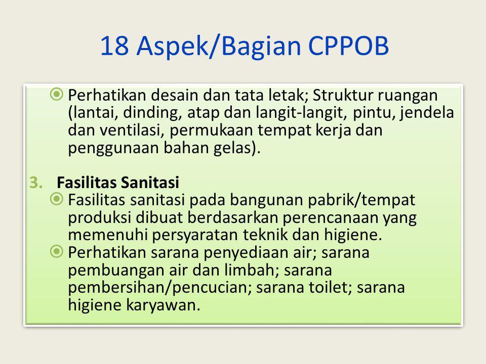 18 Aspek/Bagian CPPOB 1.Lokasi Untuk menetapkan letak pabrik/tempat produksi perlu mempertimbangkan lokasi dan keadaan lingkungan yang bebas dari sumb