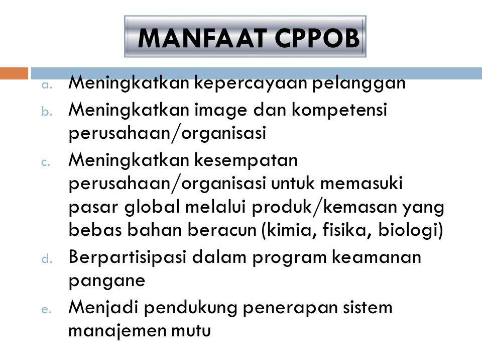 TUJUAN PENERAPAN CPPOB a.menghasilkan pangan olahan yang bermutu, aman untuk dikonsumsi dan sesuai dengan tuntutan konsumen; b.mendorong industri peng