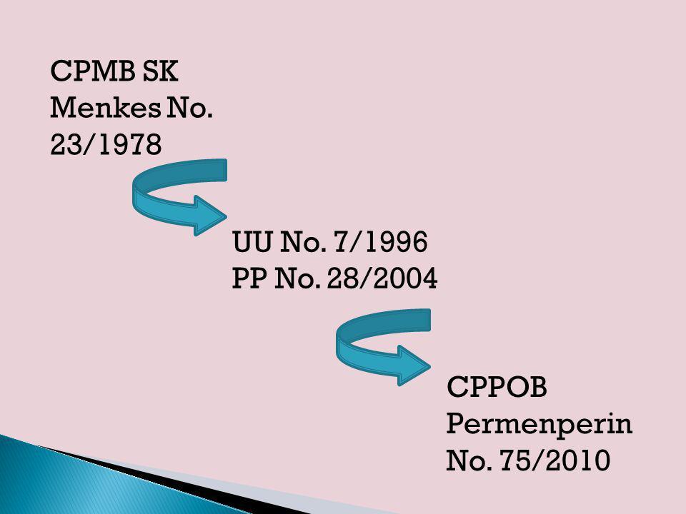 18 Aspek/Bagian CPPOB 7.Produk Akhir  Diperlukan spesifikasi produk akhir  Perhatikan persyaratan produk akhir 8.Laboratorium  Adanya laboratorium memudahkan industri mengetahui secara cepat mutu bahan dan produk  Perhatikan kepemilikan laboratorium; cara berlaboratorium yang baik (GLP)