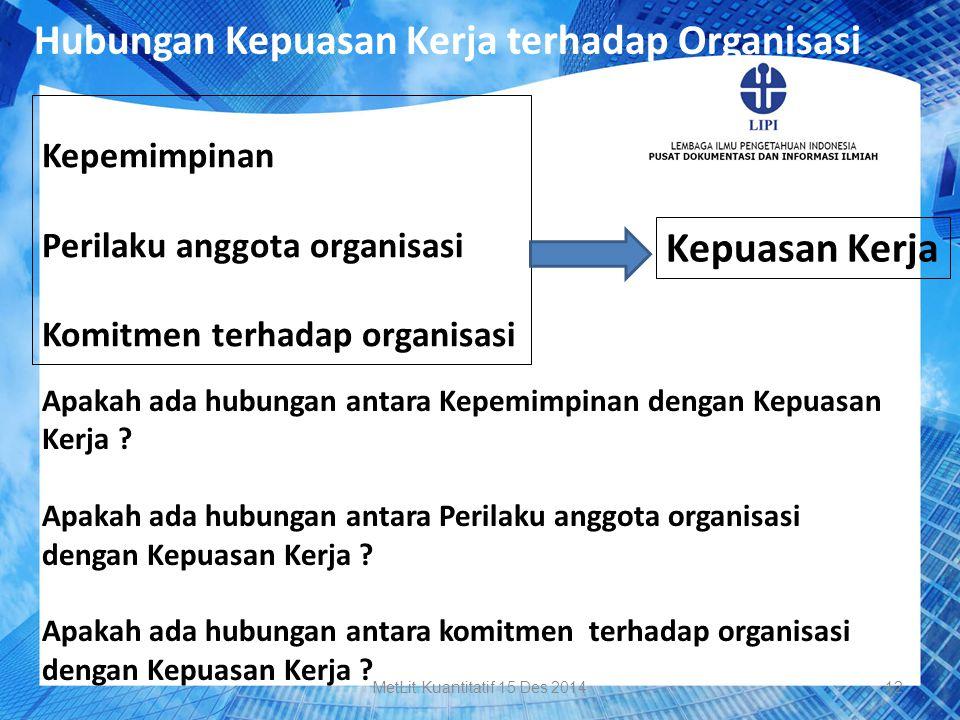 Hubungan Kepuasan Kerja terhadap Organisasi Kepemimpinan Perilaku anggota organisasi Komitmen terhadap organisasi Kepuasan Kerja Apakah ada hubungan a