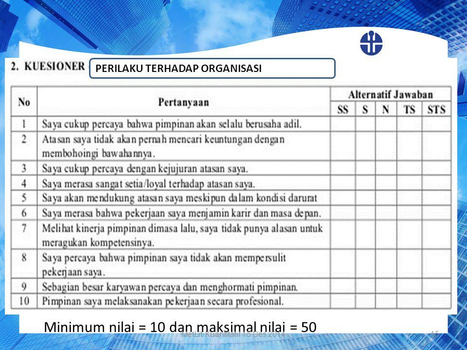Minimum nilai = 10 dan maksimal nilai = 50 PERILAKU TERHADAP ORGANISASI MetLit Kuantitatif 15 Des 201415