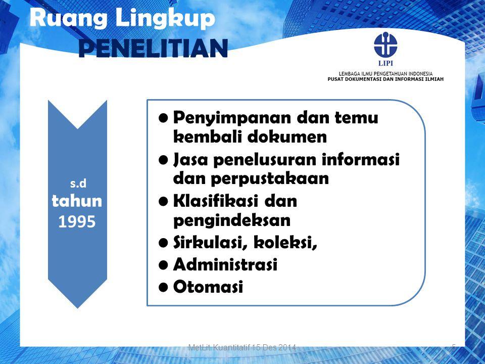 Ruang Lingkup PENELITIAN s.d tahun 1995 Penyimpanan dan temu kembali dokumen Jasa penelusuran informasi dan perpustakaan Klasifikasi dan pengindeksan