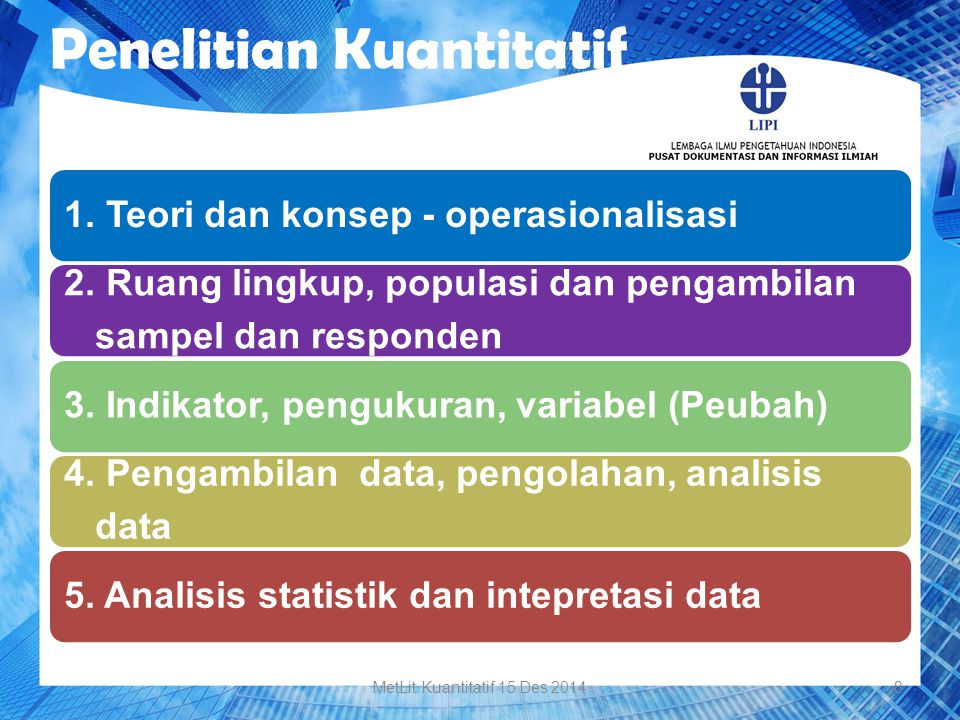 Penelitian Kuantitatif 1. Teori dan konsep - operasionalisasi 2. Ruang lingkup, populasi dan pengambilan sampel dan responden 3. Indikator, pengukuran